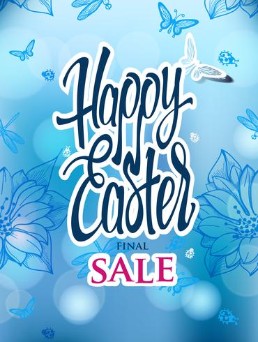Easter sale with the holiday signs on a blue background.