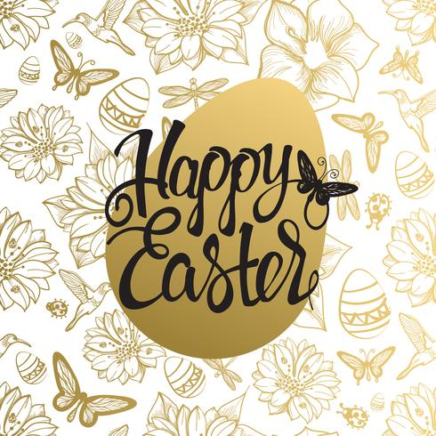 Easter egg sign on gold seamless background of flowers, egg, butterflies and dragonflies.