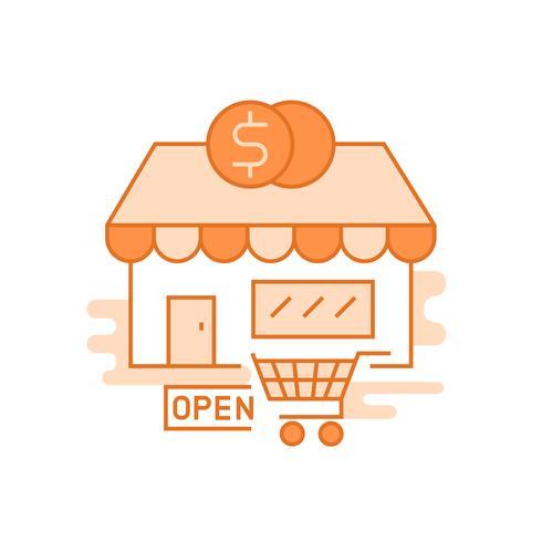 Marktillustration Flache Linie entworfenes Konzept mit orangen Farben, für mobile Apps oder andere Zwecke