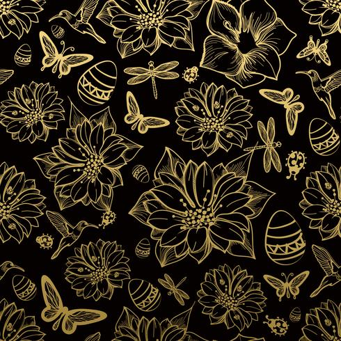 Seamless mönster blommor, fjärilar, kolibrier, guld bakgrund. vektor