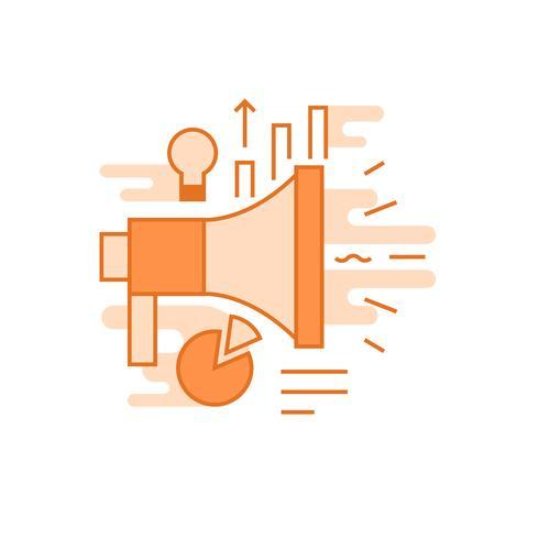 Illustration marketing. Ligne plate concept conçu avec des couleurs orange, pour les applications mobiles ou autres fins