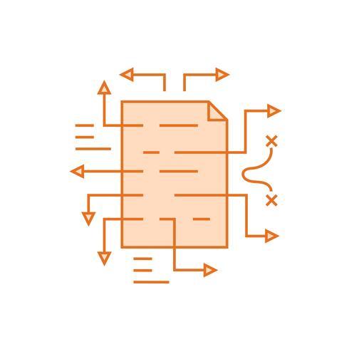Strategie-Abbildung. Flache Linie entworfenes Konzept mit orangen Farben, für mobile Apps oder andere Zwecke