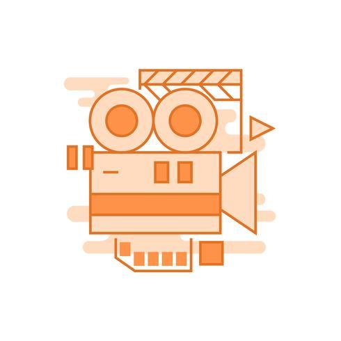 Videografie illustratie. Platte lijn ontworpen concept met oranje kleuren, voor mobiele apps of andere doeleinden
