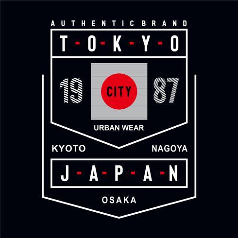 tee di design tipografia di città urbana di usura di città del Giappone