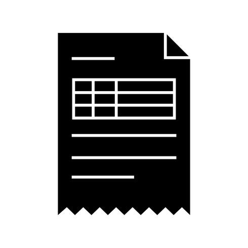 Icône de glyphe de facture noir
