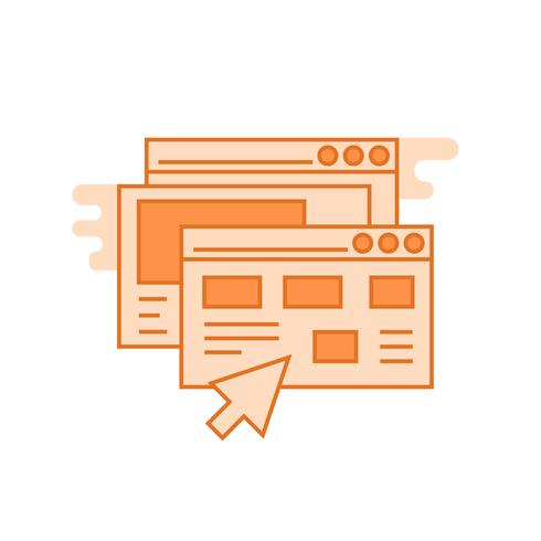 Website illustration. Flat line designed concept with orange colors, for mobile apps or other purposes
