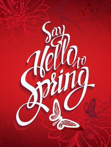 Sfondo rosso primavera con segni e colibrì e farfalle. vettore