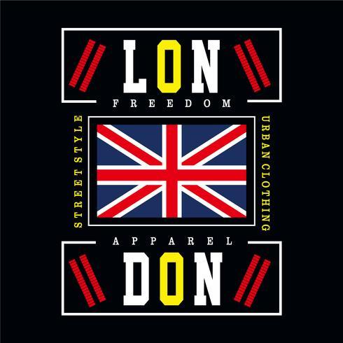 Diseño de tipografía de la ciudad de Londres para la camiseta