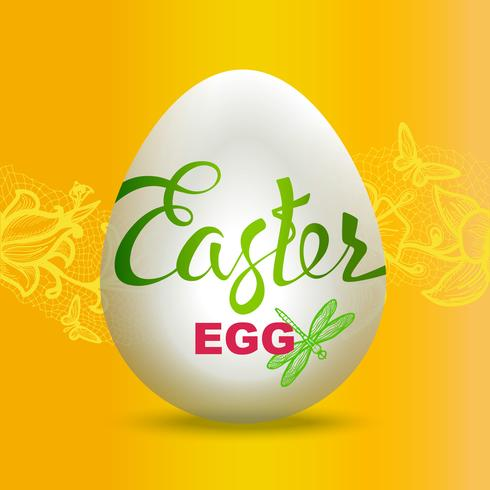 Muestra del huevo de Pascua en fondo amarillo. vector