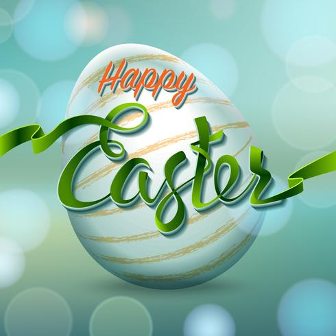 Happy Easter egg with bokeh lights and tape letters, holiday symbol. vector