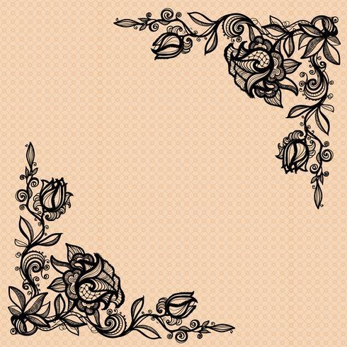 Forma d'angolo di vettore di una rosa con foglie per decorare, design, decorazione, il vostro disegno.