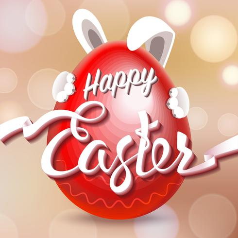 Fröhliche Ostern unterzeichnet auf rotem Ei auf bokeh Lichthintergrund, Bandbuchstaben, Hasenohren und Tatzen