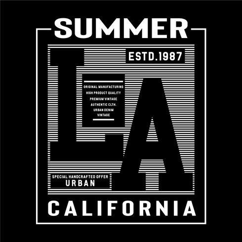 Los Angeles typografi design utslagsplats t-shirt