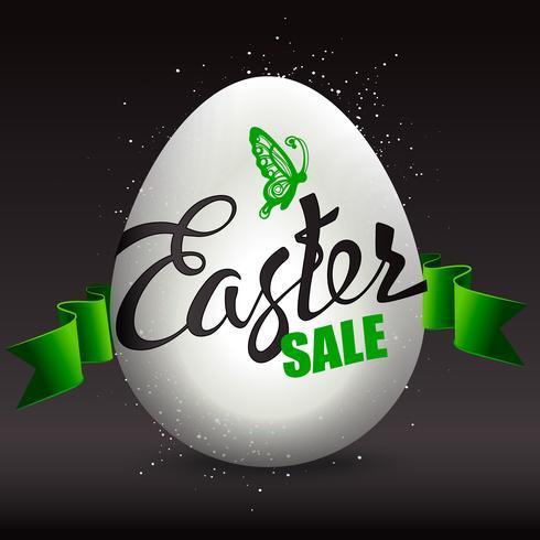 Vendita di uova di Pasqua con i segni di vacanza su uno sfondo nero. vettore