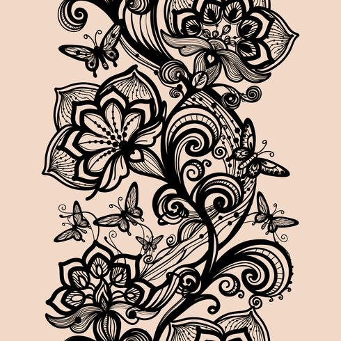 Abstract seamless lace pattern with flowers and butterflies
