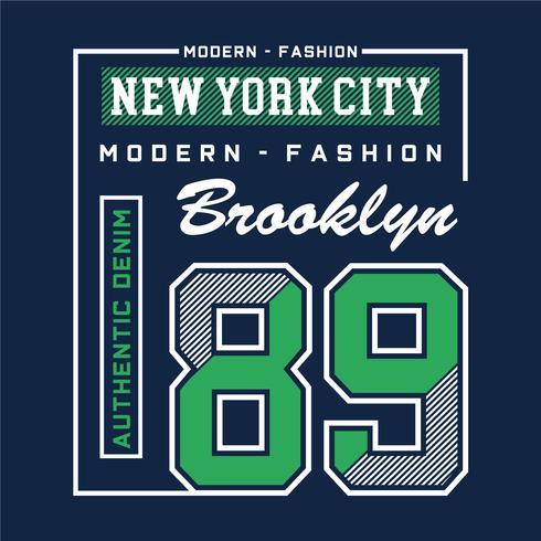 modernes Mode-Brooklyn-Typografieentwurfs-T-Stück für T-Shirt