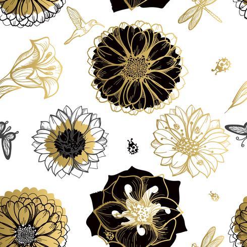 Flores de patrones sin fisuras, mariposas, colibríes, fondo blanco. vector