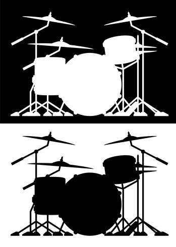 Drum set silhouette isolated vector illustration in both black and white