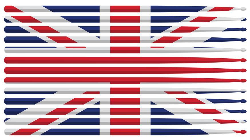 Bandeira de pau do Reino Unido baterista tambor com baquetas listradas vermelho, branco e azul listrado isolado ilustração vetorial vetor