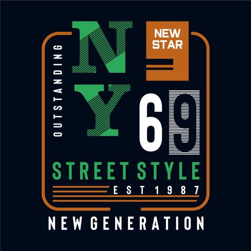 new star street style typography design tee