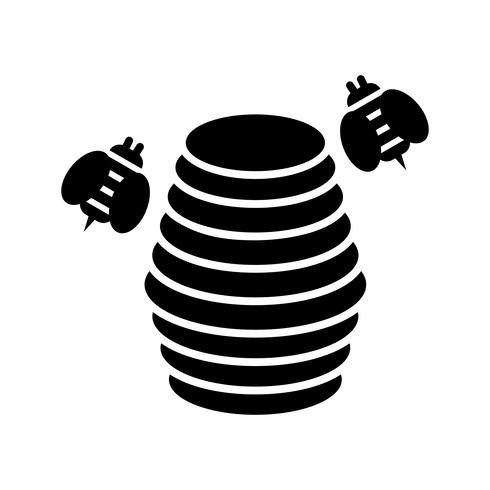 Bienenstock Glyphe schwarze Ikone