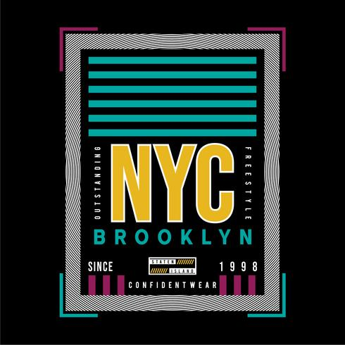 ny yok city brooklyn grafisk typografi t-shirt