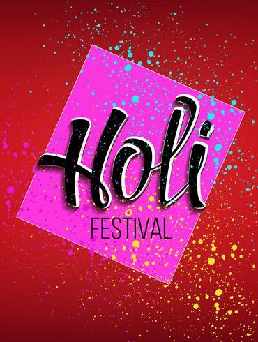 Logotipo de celebración de Holi con la inscripción y pintura en aerosol.