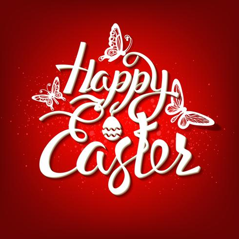Happy Easter sign, symbol, logo on a red background. vector