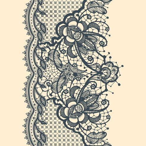 Cinta de encaje de patrones sin fisuras verticales vector
