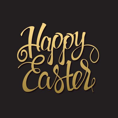 Happy Easter gold sign, symbol, logo on black background.