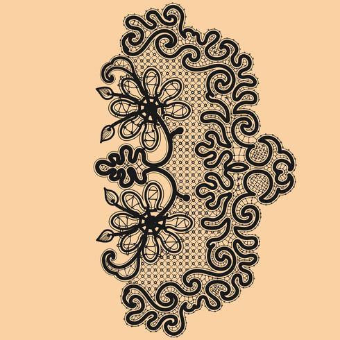 Abstraktion blommigt spetsmönster. Tempel ram design för kort. Lace Doily vektor