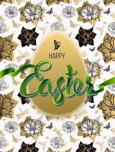 Gelukkig Pasen. Teken, symbool, logo op een naadloze achtergrond met de bloemen en het ei.
