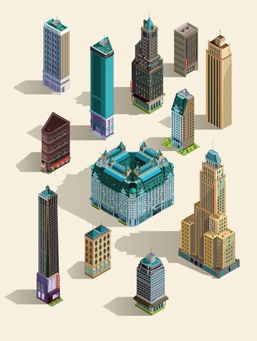 Isometrische gebouwen. Geïsoleerde oriëntatiepunten voor pictogrammen instellen. 3d kaart, huis, stadswolkenkrabber Hoogste mening. Geïsoleerd op wit. vector