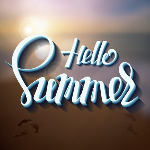 Hello summer poster inscription on a background seascape picture. vector
