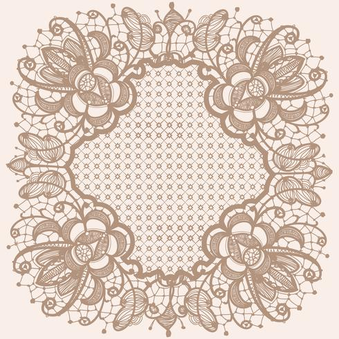 Abstracte kant lint patroon met elementen bloemen. Sjabloon frame ontwerp voor kaart. Lace kleedje.