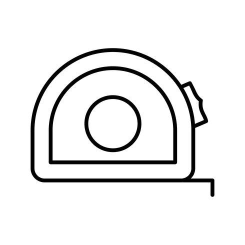 Icona nera linea di misurazione nastro vettore