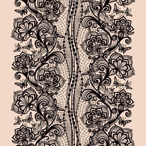 Modelo inconsútil abstracto del cordón con las flores y las mariposas.