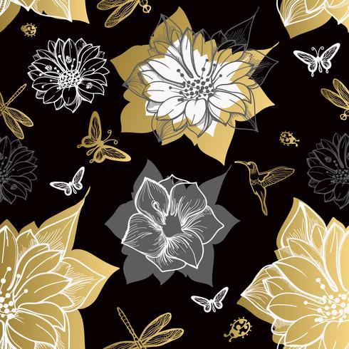 Flores sem emenda do teste padrão, borboletas, colibris, fundo preto.