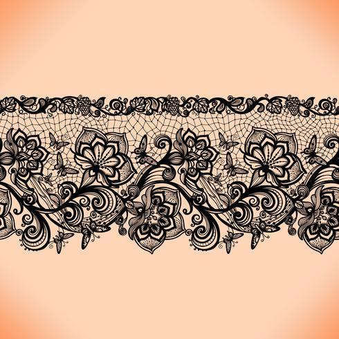 Abstrait point ajouré sans couture avec fleurs et papillons. vecteur