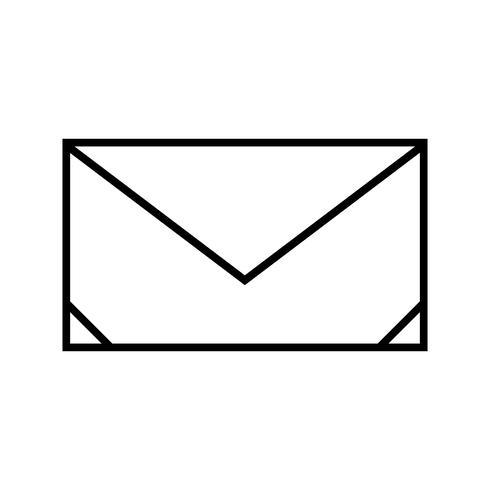 icono de línea de sobre negro vector
