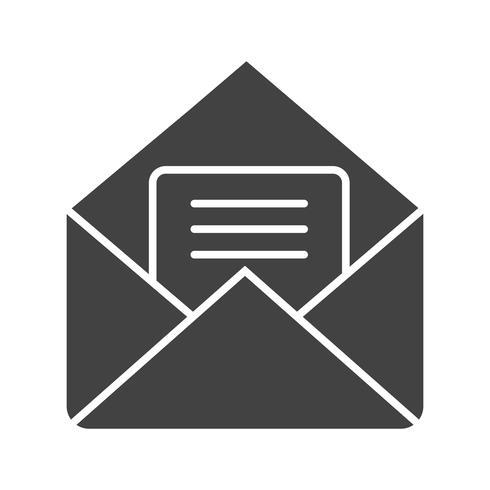 Enveloppe glyphe noir icône vecteur