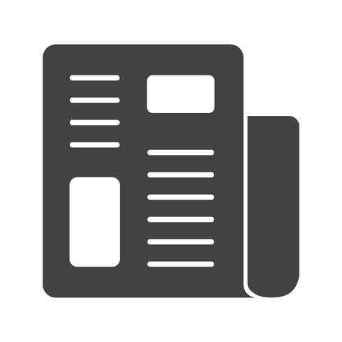 Icône de journal de glyphe noir vecteur