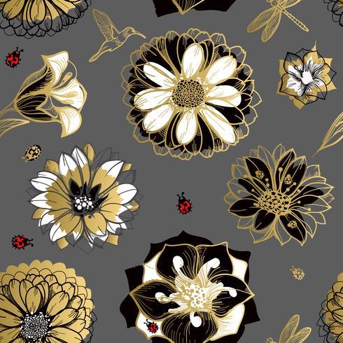 Flores de patrones sin fisuras, mariposas, colibríes, fondo oscuro.