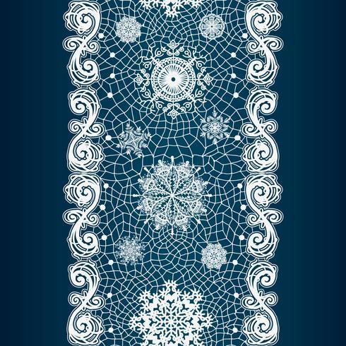 Abstraktes Spitzenbild. Wintermuster mit Schneeflocken