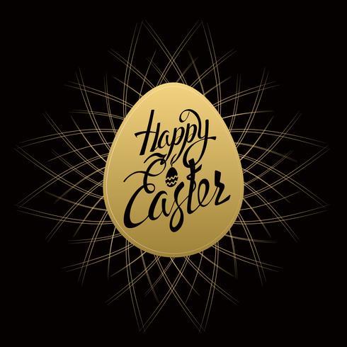 Happy Easter sign letters on gold egg, symbol, logo on a black background with vintage sunbusrt. vector