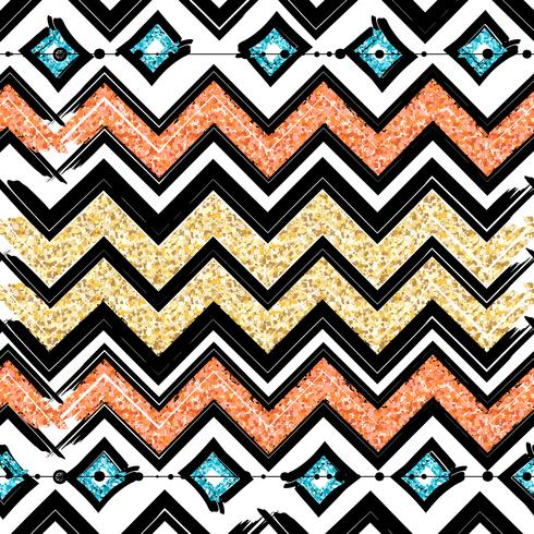 Seamless patterns with blue, black, gold, zigzag lines and points, striped, gift boxes and dots. vector