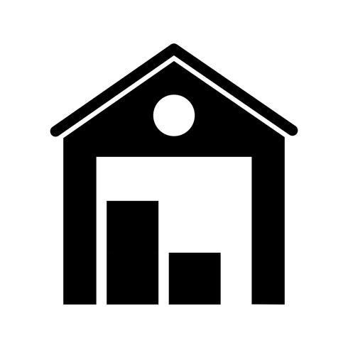Almacén Glyph Black Icon vector