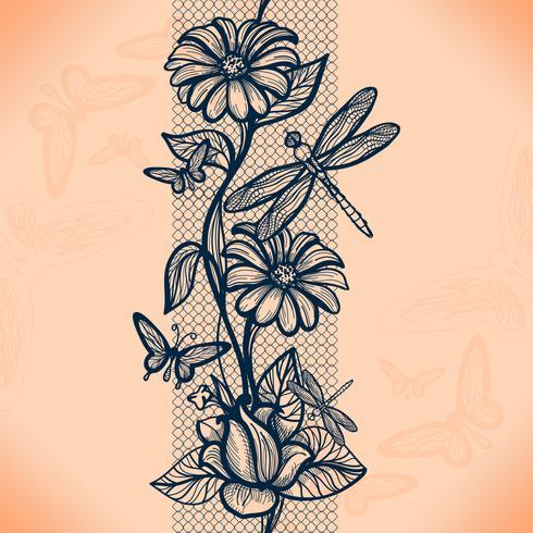 Modelo inconsútil abstracto del cordón con las flores y las mariposas. Infinitamente empapelado, decoración para su diseño, lencería y joyería. vector
