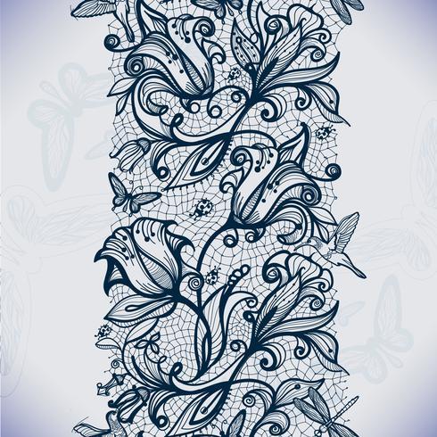 Modelo inconsútil abstracto del cordón con las flores y las mariposas. vector