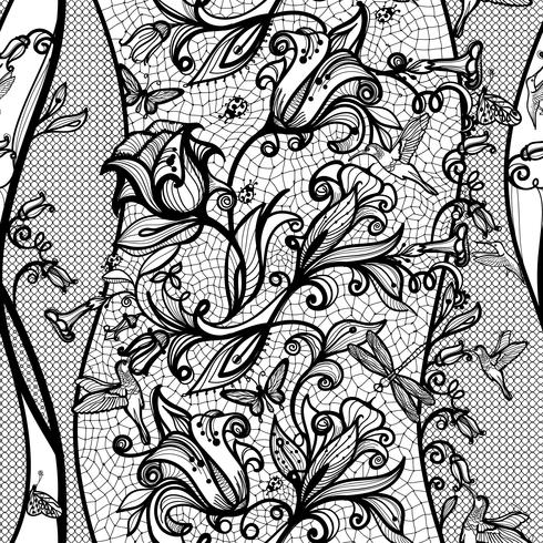Abstract seamless lace pattern with flowers, butterflies, dragonflies and hummingbirds.